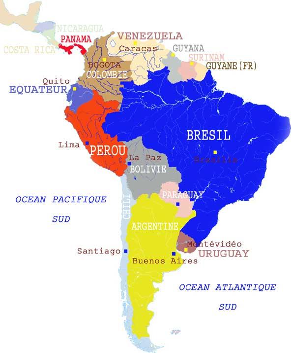 Pérou - carte Amérique du sud