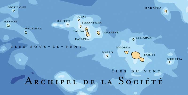 Tahiti sur la carte des îles de Polynésie