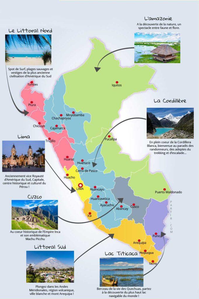 Carte des régions du Pérou