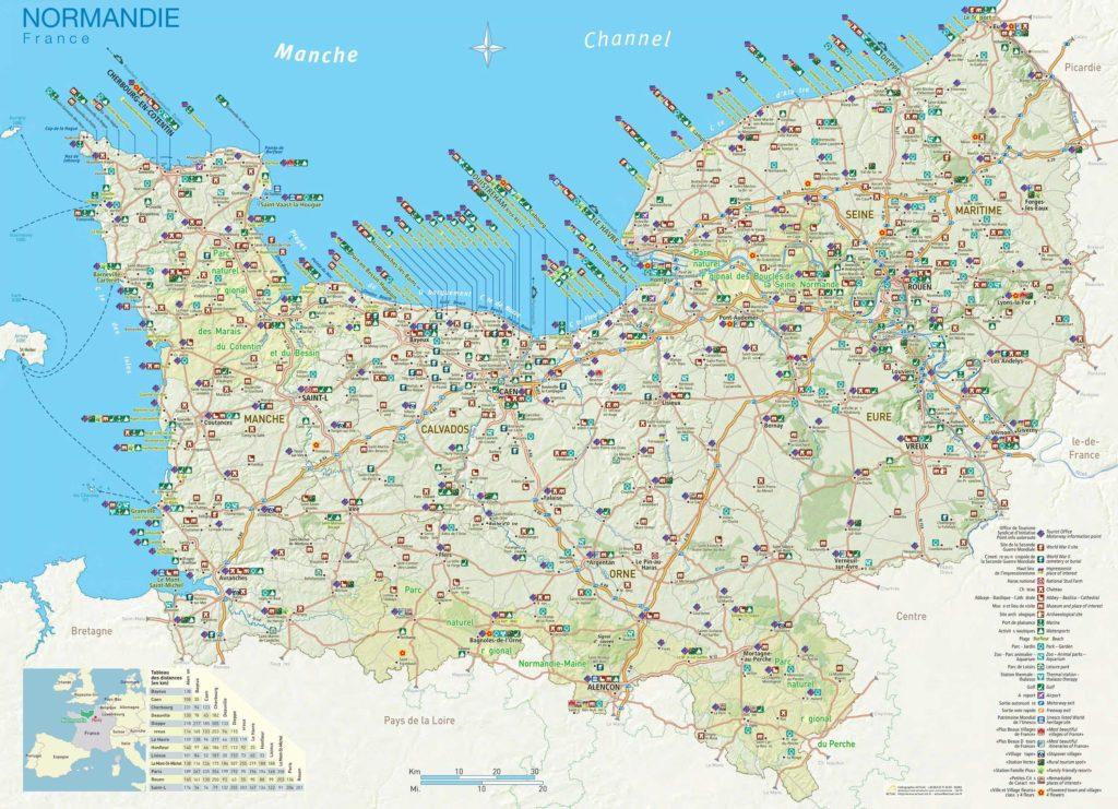 Carte touristique de la Normandie