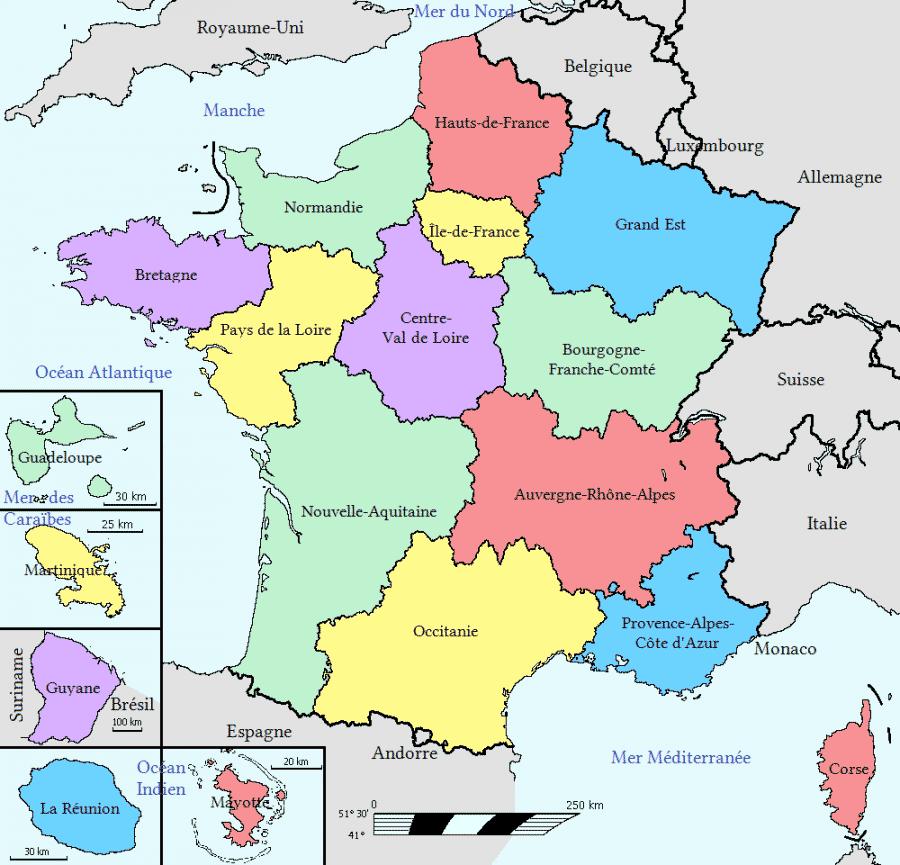 Carte - Les régions française