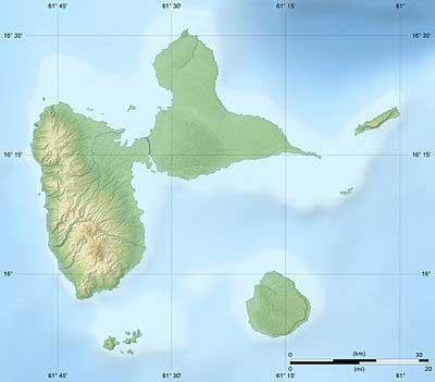 Carte - Guadeloupe - Départements - Map