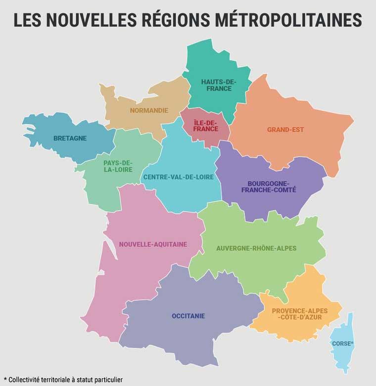 Carte des régions 2018 - France