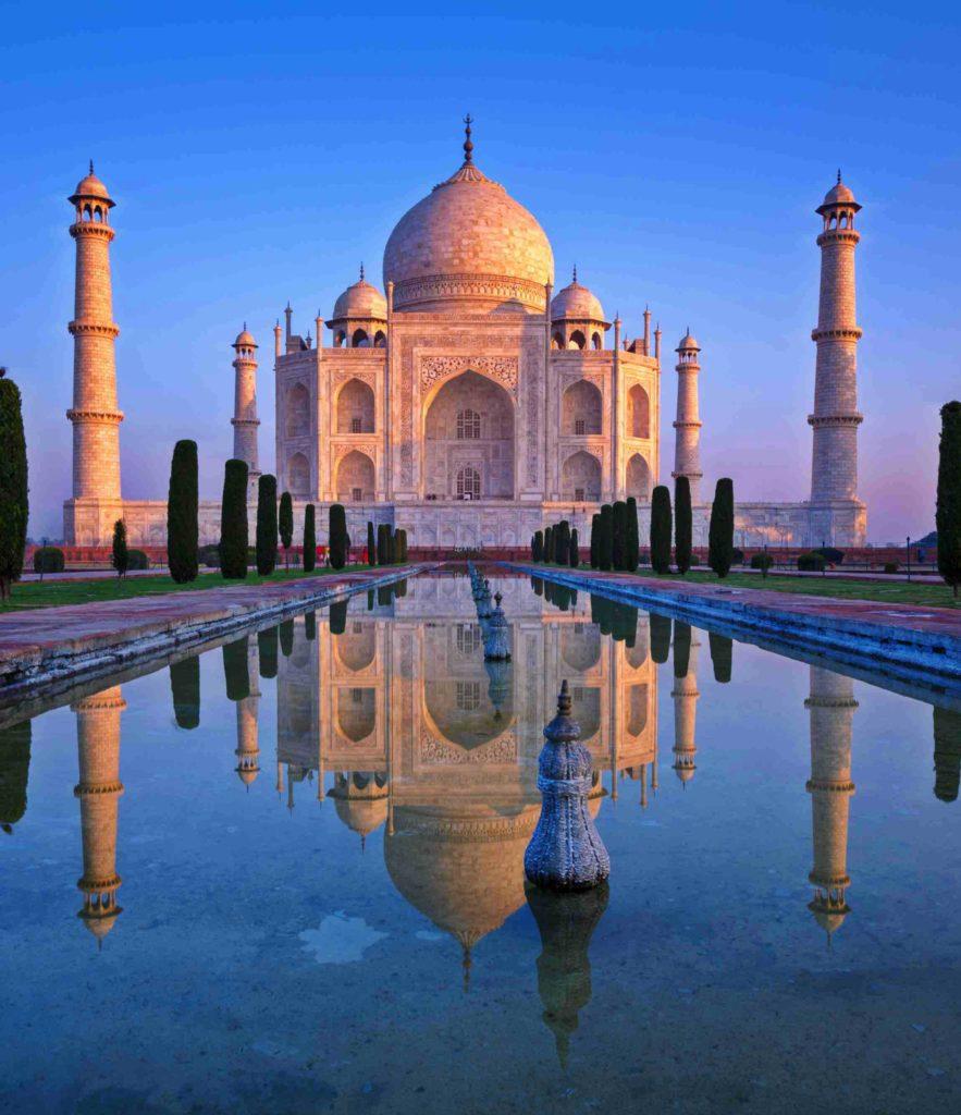 Photo du Taj Mahal au soleil couchant