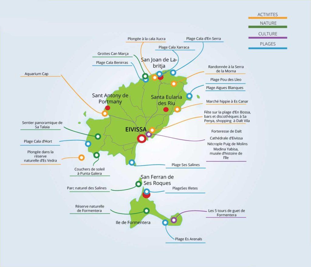 Carte détaillée de Ibiza