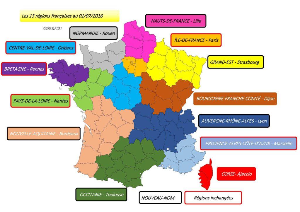 Fond de Carte - régions de France