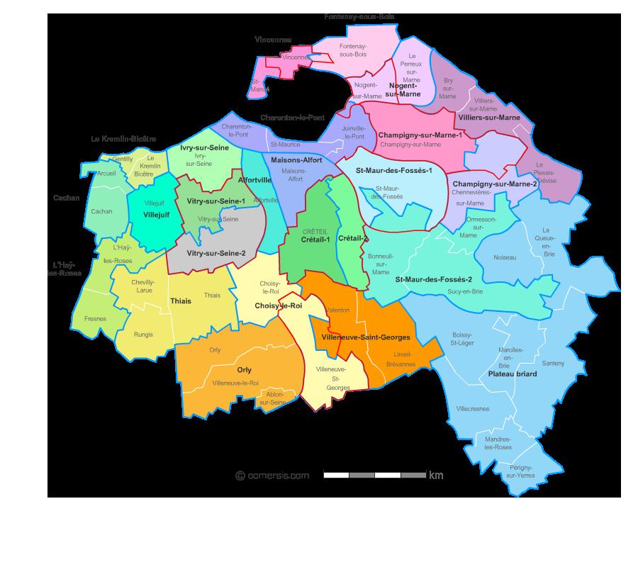 Carte du Val de Marne - Villes