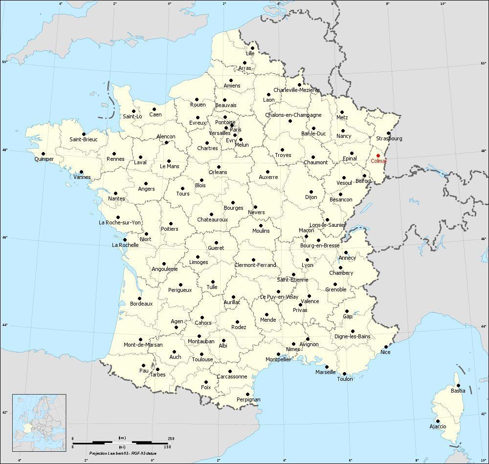 Carte de France - Colmar