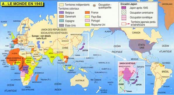 Carte du monde en 1945