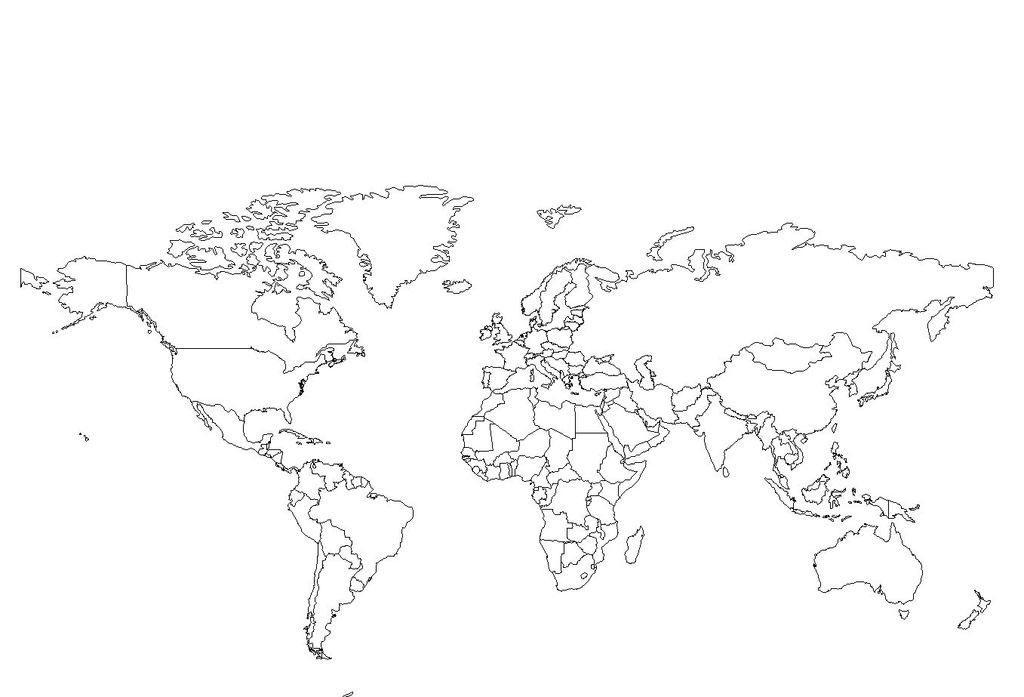 Carte du monde en noir et blanc