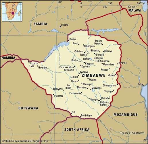 Carte des villes du Zimbabwe