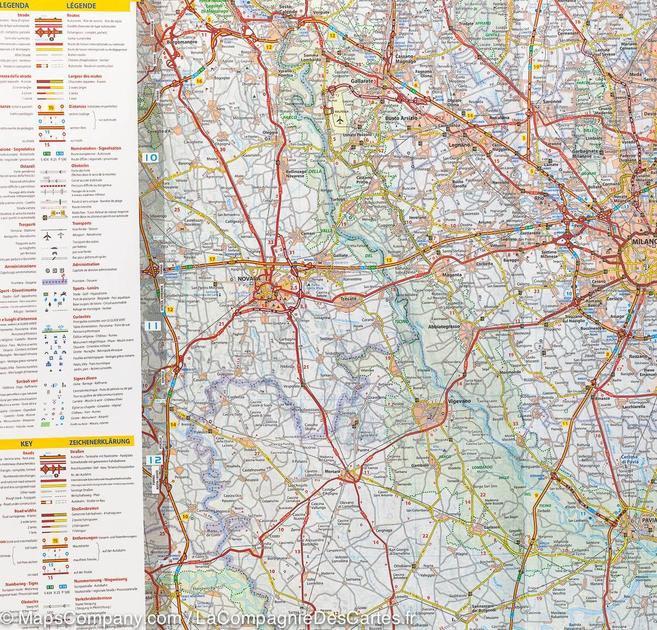 Carte routière de Lombardie