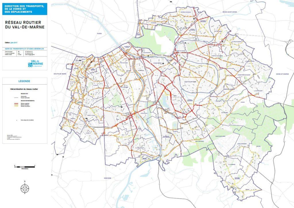 Carte routière du Val de Marne